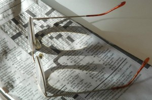 Glasses and crossword