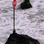Stop sign in ocean