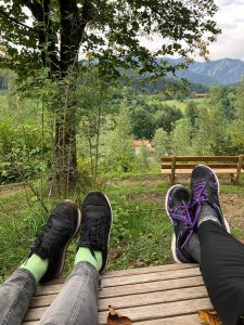 Feet on bench with view